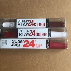 3 Maybelline 24 hour stay out lipcolor.